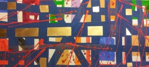 PAPPONE LEONARDO  misto acrilico lacca e spray  su legno  titolo gli incroci della vita anno 2013 misure  92 x 47 cm