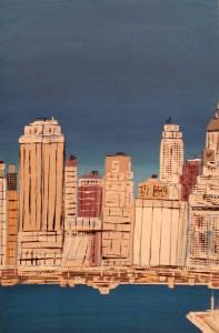 leopapp tecnica misto acrilico su legno titolo Manhattan da east river anno 2013 20131021_112247-1