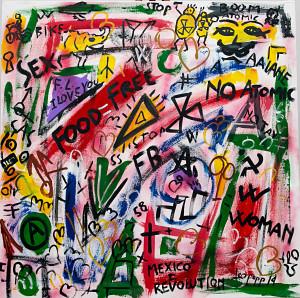 leopapp tecnica misto acrilico su tela titolo Graffiti 2-3 misure cm 90x90  anno 2014 IMG_2893