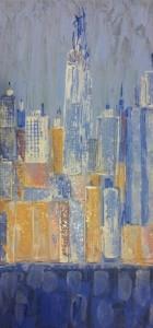 leopapp titolo N.Y FREEDOM TOWER VISTA DA BROOKLYN  tecnica misto acrilico su pannello misure 93x47 cm anno 2013