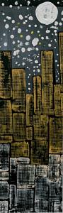 Leopapp tecnica misto acrilico  TITOLO Moon's city  anno 2013 su legno misure 24x80 cm  IMG_2951