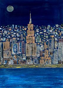 Leopapp tecnica misto acrilico su tela misure cm 50x70 anno 2014 titolo N.Y. by night IMG_2958