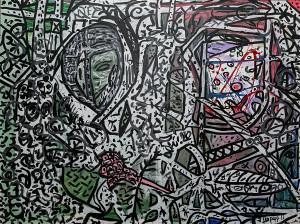 leopapp misto acrilico su tela titolo riti tribali misure  120x90 cm anno 2013  IMG_2880