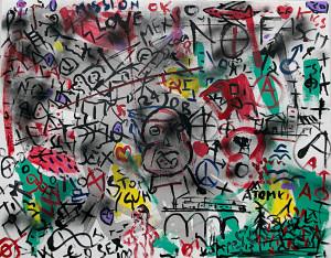 leopapp tecnica misto acrilico su tela titolo Graffiti 1-0  misure cm 70x90  anno 2014   IMG_2910