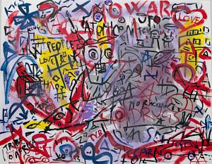 leopapp tecnica misto acrilico su tela titolo Graffiti 1-2  misure cm 70x90  anno 2014   IMG_2913