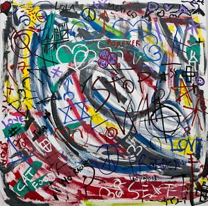 leopapp tecnica misto acrilico su tela titolo Graffiti 1-3  misure cm 90x90  anno 2013 IMG_2898