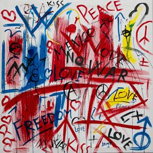 leopapp tecnica misto acrilico su tela titolo Graffiti 1- misure cm 90x90  anno 2014 IMG_2901