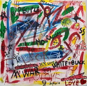 leopapp tecnica misto acrilico su tela titolo Graffiti 2-2  misure cm 90x90  anno 2014 IMG_2897