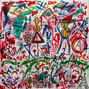 leopapp tecnica misto acrilico su tela titolo Graffiti 2-5  misure cm 90x90  anno 2014  IMG_2891