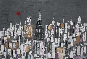 leopapp tecnica misto acrilico su tela titolo RED MOON IN NEW YORK      misure cm 85x125   anno 2013