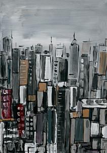 leopapp tecnica  misto acrilico su tela  titolo Skyscrapers anno 2014  misure  cm. 50x70 IMG_2960