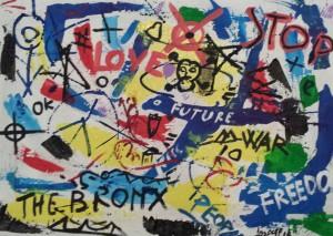leopappTitolo Graffiti  serie 3  - tecnica misto acrilico su tela ; dimensioni cm 50x70  anno 2014; prezzo opera .   -1