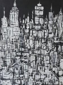 autore-leonardo-pappone-leopapp-titolo-black-and-white-city-nr-2-tecnica-misto-acrilico-su-juta-formato-90x70-cm-anno-2017