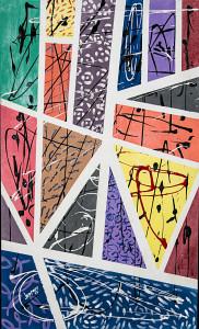 Leopapp tecnica misto acrilico e resine su pannello polistirolo telato titolo Frammenti misure cm 100x60 anno 2013, con cornice colore nero IMG_0354