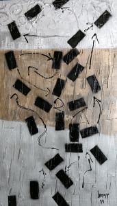 Leopapp tecnica misto acrilico e resine  su pannello polistirolo telato   titolo Urban footprints     misure cm 100x60 anno 2013, con cornice colore  nero     IMG_0349