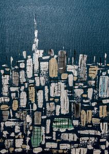 Leopapp tecnica misto acrilico su sacco di juta  titolo  City panorama,   misure cm 50x70 anno 2015  IMG_0331