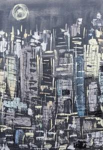Leopapp tecnica misto acrilico su sacco di juta titolo Gotham city, misure cm 50x70 anno 2015 20150602_153636-1