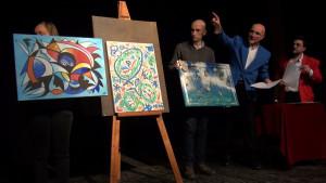 Un momento dell'asta ART FOR ART Bn 22012016 Autore leonardo pappone leopapp, Titolo graffiti 3-4 , tecnica misto acrilico su tela, misure 50x70 cm. Anno 2014