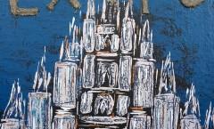 autore Pappone leonardo Leopapp tecnica misto acrilico, glitter e vernici su juta misure cm 70x70 titolo Welcome to expo world  anno 2015