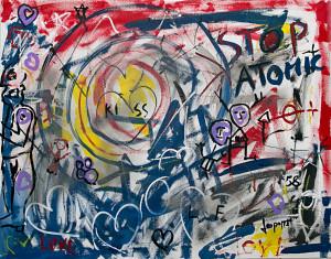 leopapp tecnica misto acrilico su tela titolo Graffiti __ misure cm 70x90 anno 2014 IMG_2918
